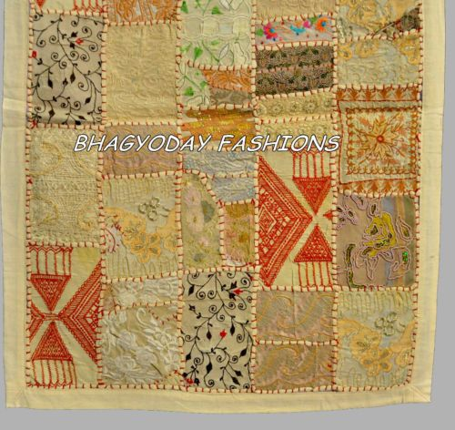 Indian Ethnic Embroidery Fabric Throw Patchwork WallHanging Traditional Tapestry