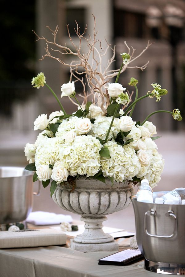 Hydrangea and rose urn centerpiece hydrangeas nashville