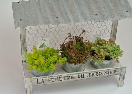 【楽天市場】多肉植物のディスプレイにトタン屋根付き台ブリキポット付き:ガーデニング用品テラコッター