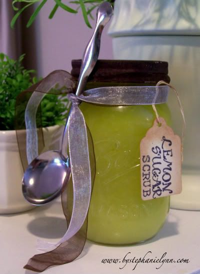 [LEMON SUGAR SCRUB} I have been using this simple mix for a few years and it is the best recipe to rejuvenate your skin and bring your fingertips back to life. The sugar is an excellent exfoliate to remove the craft leftovers from your nail beds and cuticles too! It takes only minutes to mix and you most likely have all the necessary ingredients sitting right in your pantry.