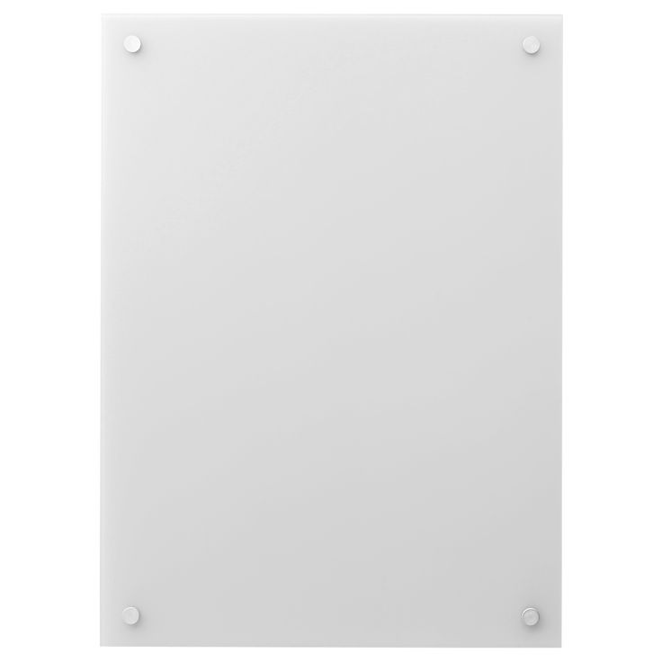 KLUDD Noticeboard, glass $19.99 Preferably, use whiteboard pens; easy to wipe off. Can be hung horizontally or vertically to fit into the space available. Handle with care! A strike, knock or scratch can cause the glass to crack suddenly. However, only into small pieces, never into sharp fragments.  4 paper clips included.
