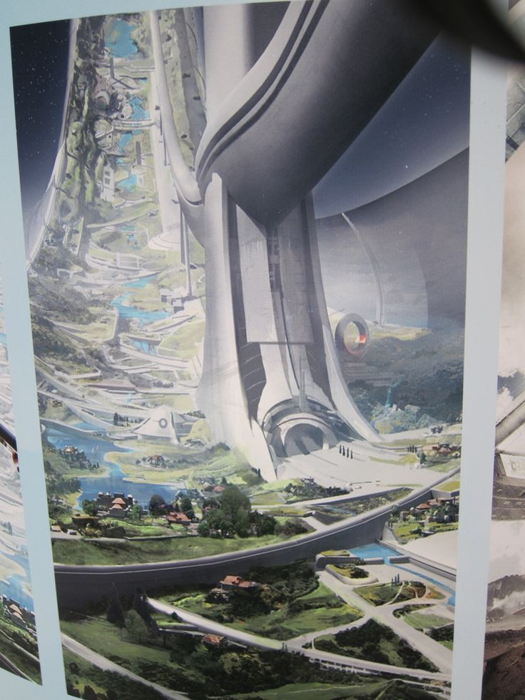 Floating colony in the environment's background.  New Elysium concept art shows off Matt Damon's perfect space station