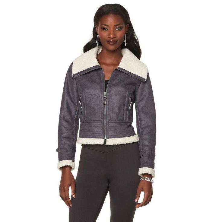Serena Williams Faux Shearling Aviator Jacket Charcoal  Size 1X Retail  $149 #SerenaWilliams #BasicJacket