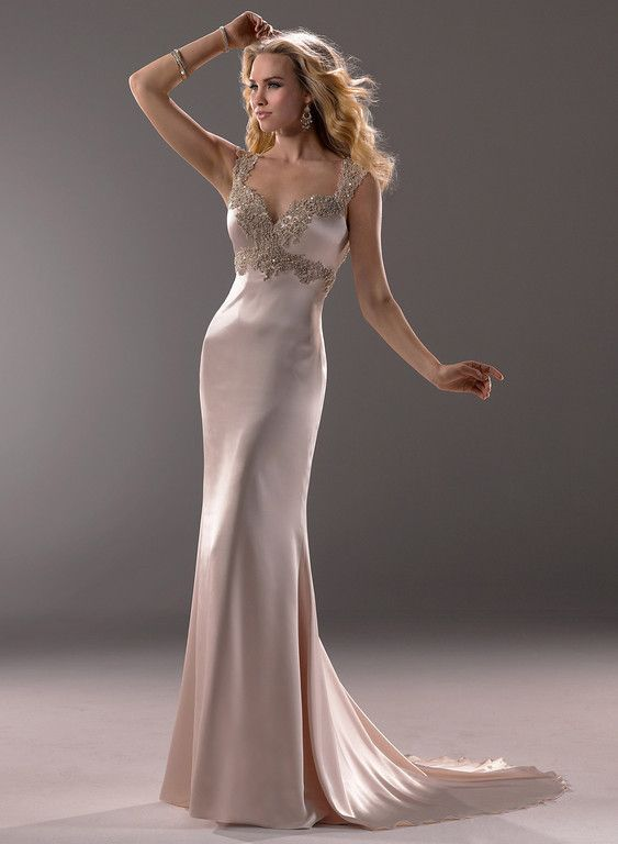 Spectacular My dress Maggie Sottero Admina Demir Stretch Satin skims the body in this elegant sheath gown with embroidered lace and beaded embellishments