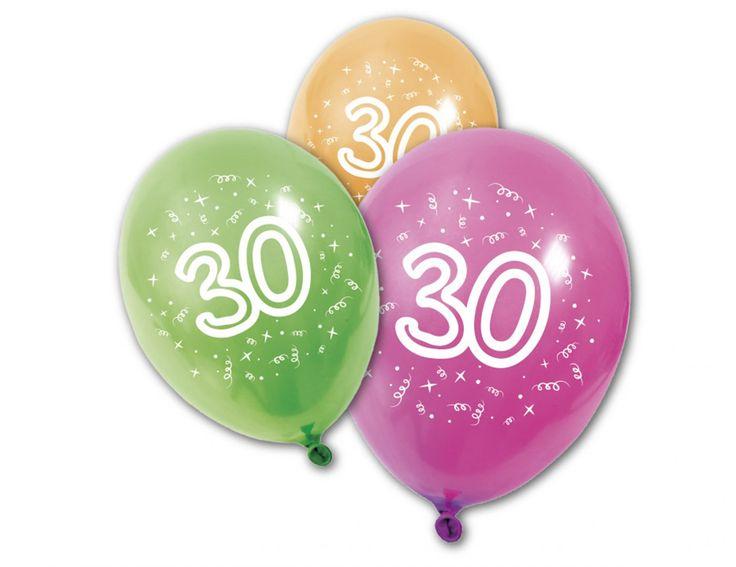 8 Globos látex 30 años: Este lote de 8 globos de látex.Son de diferentes colores con el número 30.Se pueden utilizar con helio y aire y su tamaño puede llegar hasta los 30x22 cm.Completa la...