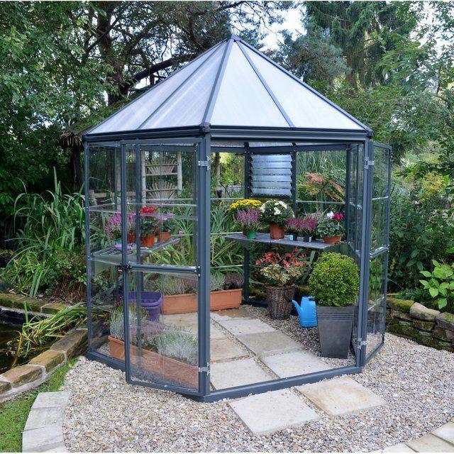 Serre De Jardin Hexagonale Oasis 3 8 M Aluminium Et Polycarbonate Palram Serre Jardin Plans De Serre Maison Verte