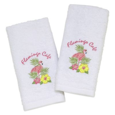 "Avanti ""Flamingo Café"" Fingertip Towel in White (Set of 2) - BedBathandBeyond.com"