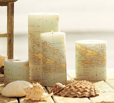 I have ALWAYS wanted a study that is done up with old maps and old world style.  I love love love the look of the dark wood and such.  Anyways, these candles are from pottery barn, but the website here also shows you how to diy.
