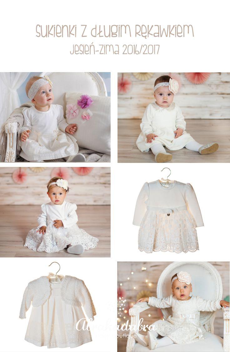 sukienki do chrztu z długim rękawem - kolekcja jesień-zima 2016/2017