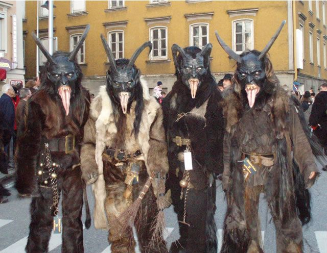 Modern krampus festival participants in germany christmas krampus