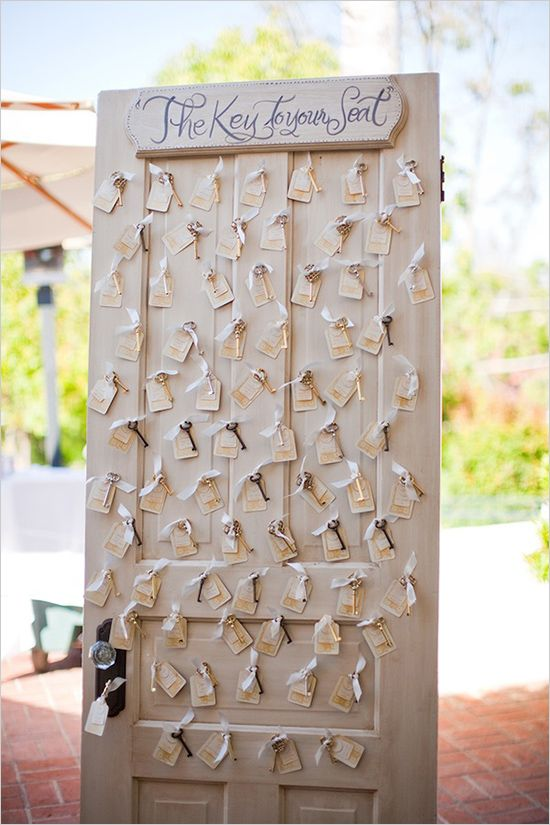 I like this idea of the keys, but I would have them hanging from a tree or some type of old iron object rather than an old door. key escort card ideas