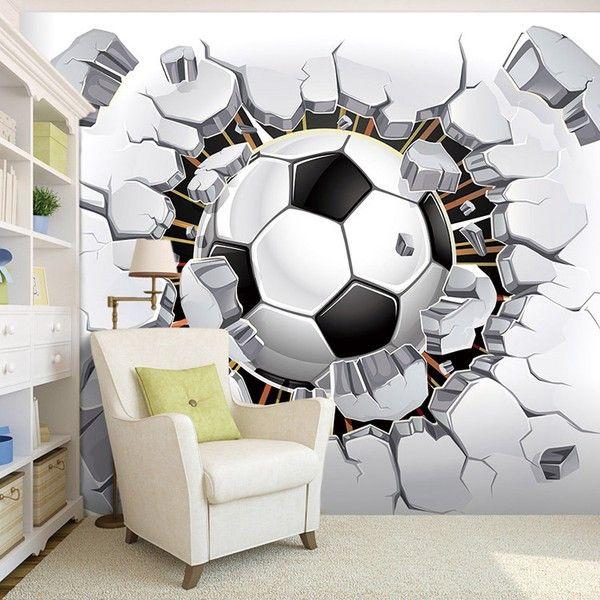 tapet fotboll 3d effekt ungdomsrum barnrum