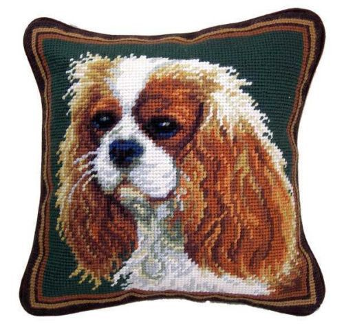 Home design with dogs in mind. That is our motto. Discover our collection of dog lover gifts. Needlepoint pillow features a Cavalier King Charles Spaniel dog.