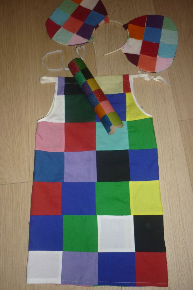 World Book Day Elmer Costume!! Dress, ears and trunk <3