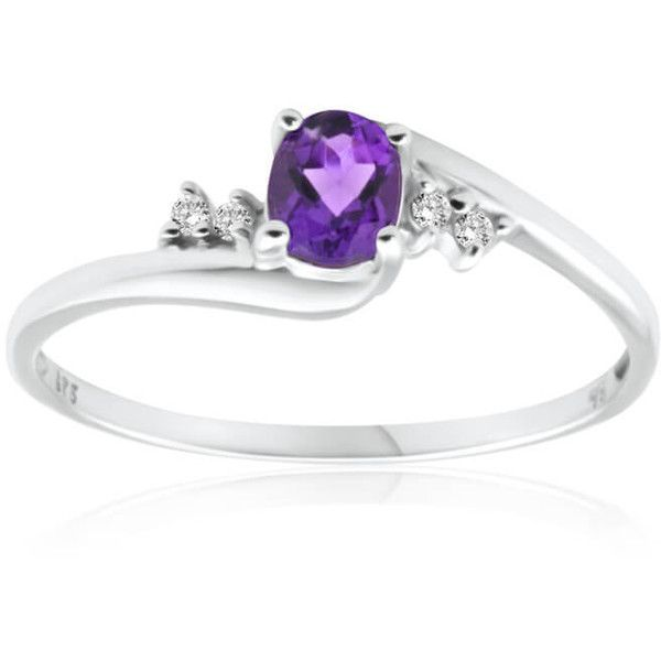 Amethyst & Cubic Zirconia Ring 9ct White Gold 40198856 Shiels ❤ liked on Polyvore featuring jewelry, rings, cubic zirconia rings, white gold amethyst ring, white gold jewellery, amethyst jewelry and cz rings