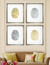 TROWBRIDGE - Hand Painted Gold Fingerprints - Charlotte Morgan has created this modern pair of images featuring the detailed lines of a fing...