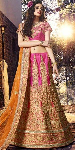 Victorious Pink And Orange Silk Designer Lehenga Choli With Dupatta.