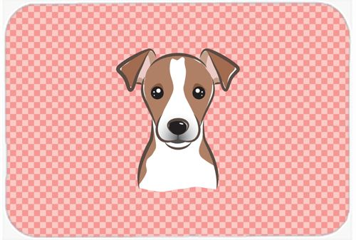 Checkerboard Pink Jack Russell Terrier Mouse Pad - Hot Pad or Trivet BB1260MP #artwork #artworks