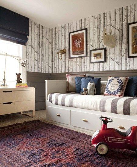 Boy's Bedroom. Stripe. Cole & Son Woods wallpaper. Grey. White. Red. Blue. Brass. Under bed storage. Designer: Nam Dang-Mitchell