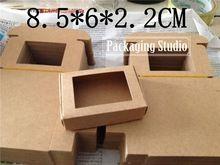 Kraft Papier Cadeau Boîte D'emballage avec Fenêtre Artisanat Savon À La Main Parti Faveur De Sucrerie Boîtes D'emballage Personnalisé Livraison Gratuite(China (Mainland))