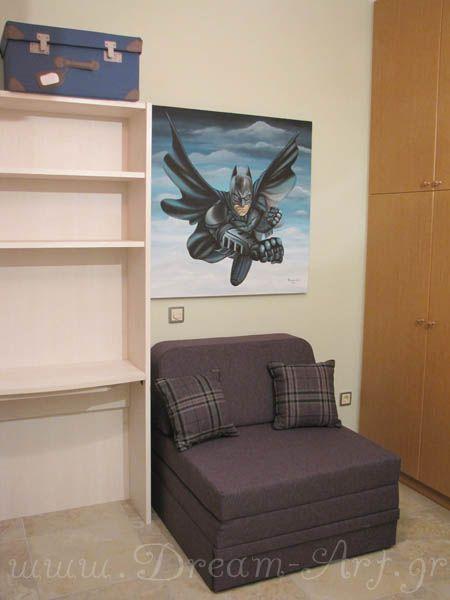 Batman ζωγραφική σε καμβά για αγορίστικο παιδικό δωμάτιο