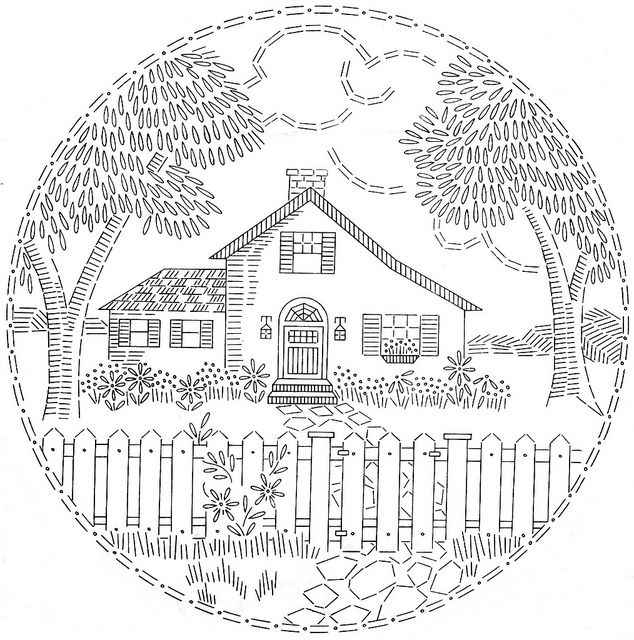 embroidery pattern house fence trees