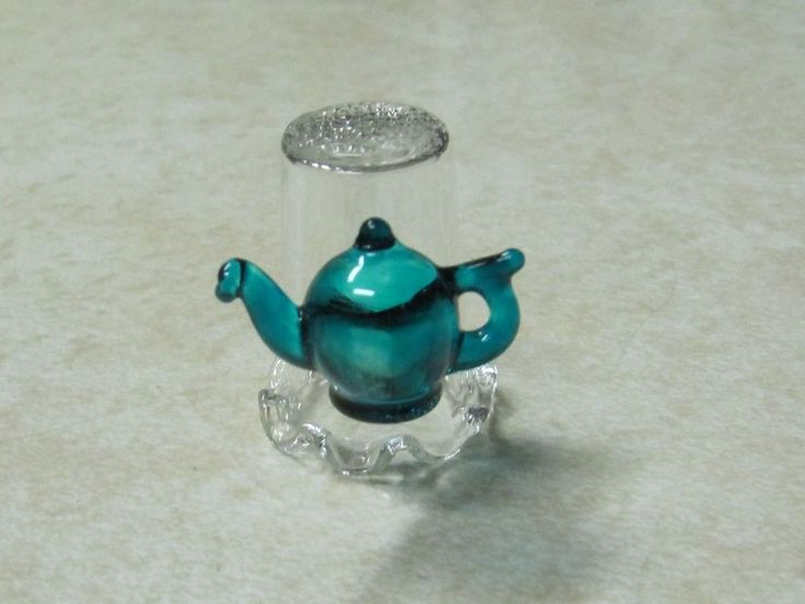 GLASS THIMBLE WITH TURQUOISE ATTACHED TEAPOT by JOHN SPRAY - MINT