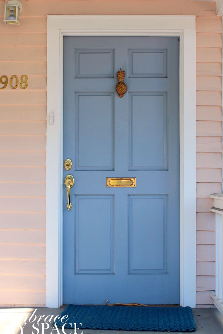 Embrace My Space: Key West Front Doors blue front door with pink siding