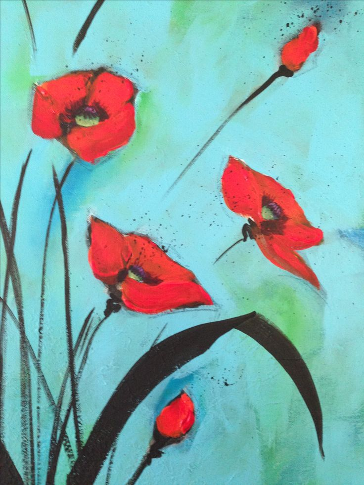 Poppies on Blue Tracy Davies Wired and Hung Studio