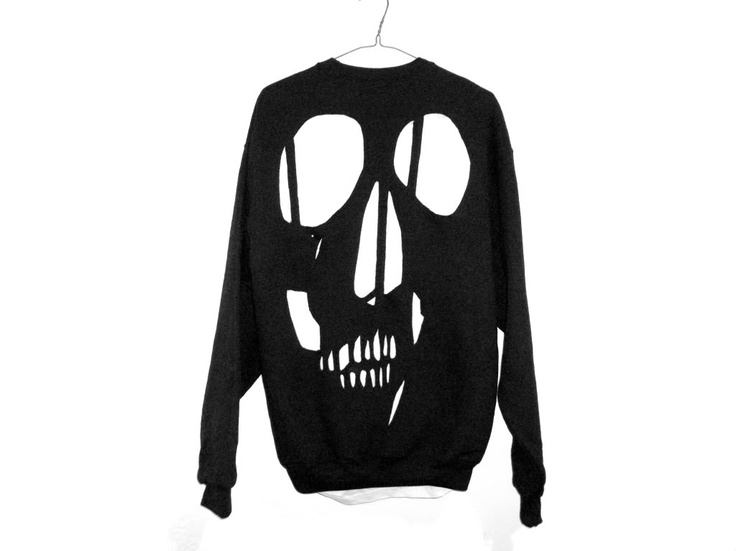 shopwithasianstereotypes: CUT OUT SKULL SWEATER *regular $80 now $55  need