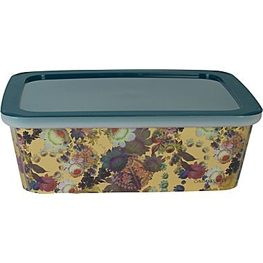 Cynthia Rowley Small Plastic Storage Box, Gilded Gold Floral