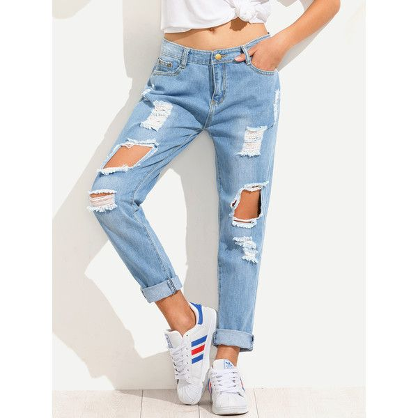 SheIn(sheinside) Blue Distressed Boyfriend Jeans ($21) ❤ liked on Polyvore featuring jeans, bottoms, white jeans, loose boyfriend jeans, destroyed boyfriend jeans, destructed jeans and ripped jeans