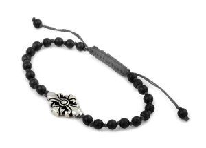 Twisted Blade Bracelet With Small Onyx Beads And Fleur De Lis Center Piece Adjustable Twisted Blade. $46.29
