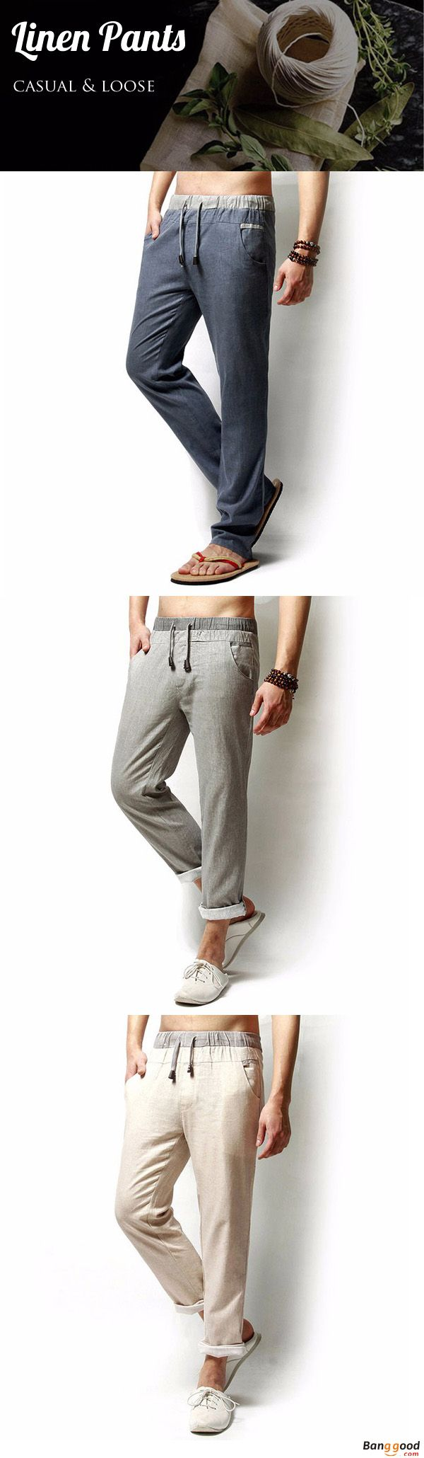 US$24.99 + Free Shipping. Linen Pants, Solid Color Pants, Casual Pants, Loose Pants, Men Long Trousers, Flax Leisure Pants. Color: Navy, Black, Green, Light Gray, Beige. Here Goes Your New Look, Check it All.