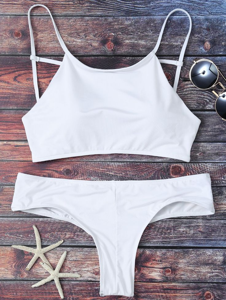 $20.49 Mock Neck Spaghetti Strap Bikini Set - WHITE S