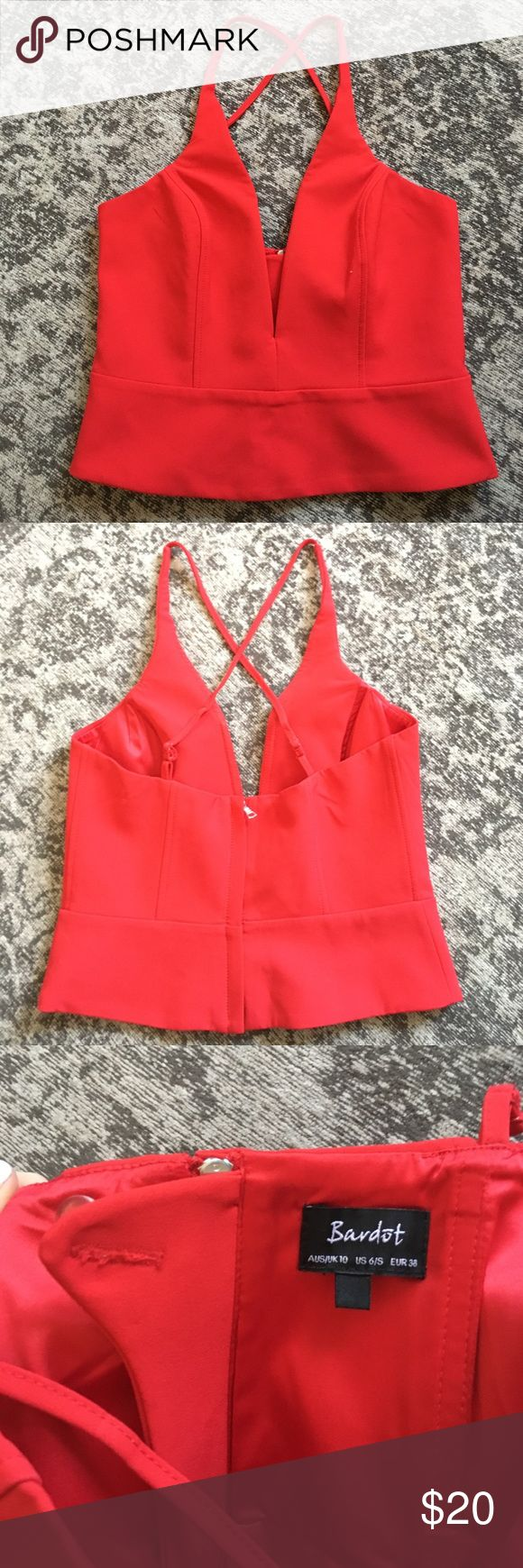 Red crop top Bright red , has boning, very thick and nice material. Adjustable straps. Worn once. Size euro 6 (American xs/s) Bardot Tops Crop Tops
