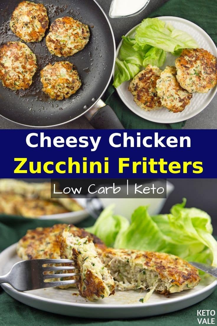 Easy Chicken Zucchini Fritters Low Carb Keto Friendly Recipe Recipe Low Carb Chicken Chicken Zucchini Recipes