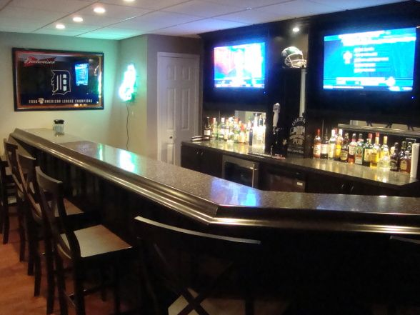finished basement bar | My newly finished basement sports bar, This space was finished in an ...