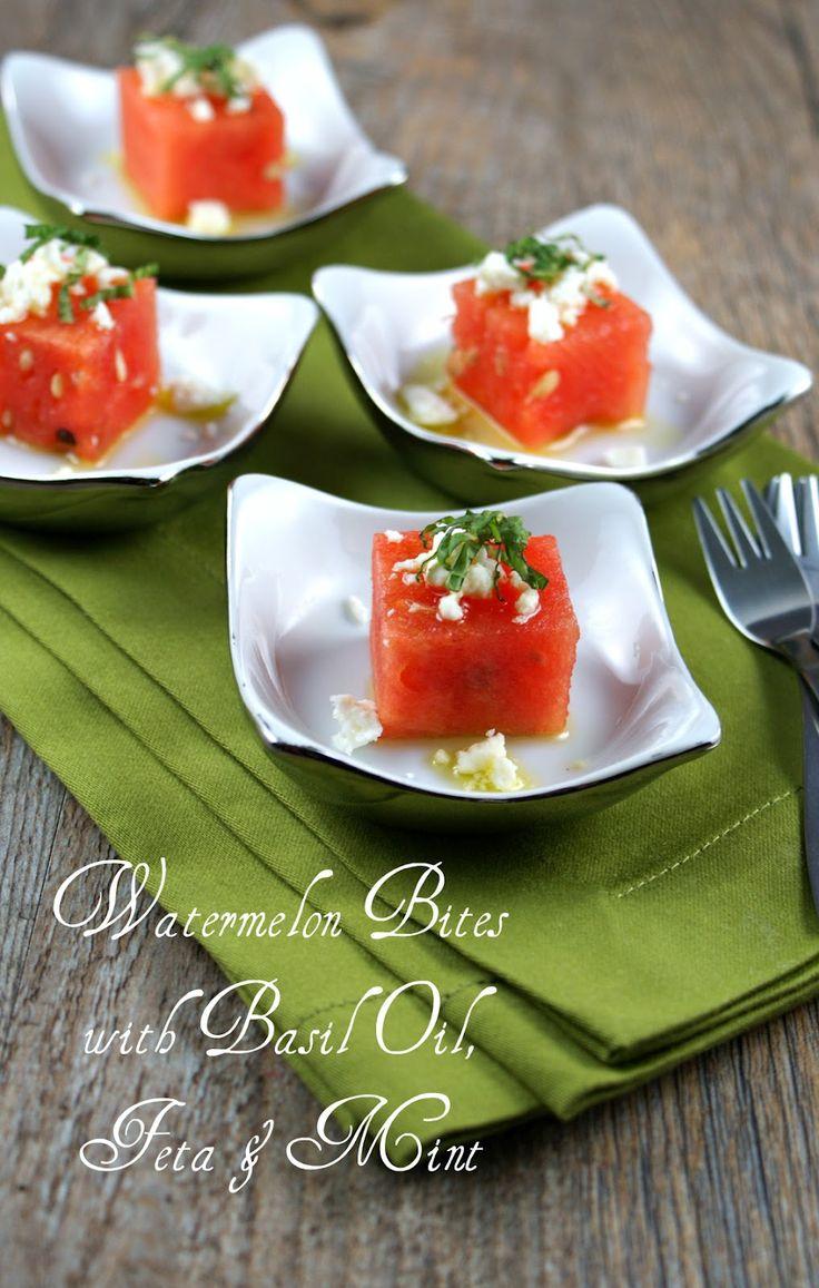 Authentic Suburban Gourmet: { Watermelon Bites with Basil Oil, Feta & Mint }