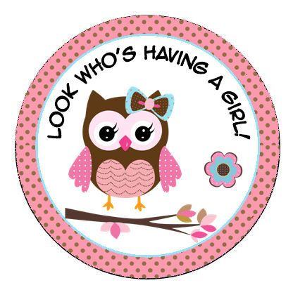 """Personalized 2.5"""" OR 2"""" Round pink baby owl shower sticker favors, decorations. $4.25, via Etsy."""