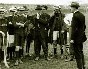 GAA AND THE IRA: Irish patriot Michael Collins with the Kilkenny hurling team in 1921