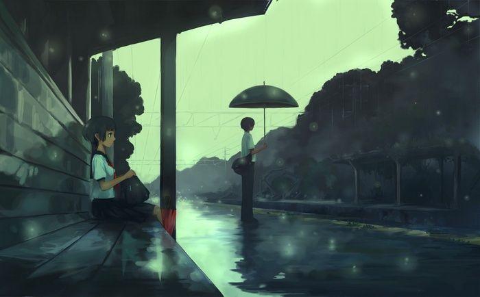 School Uniform Power Lines Students Anime Umbrella Bus Stations Rain Wallpaper Graphic Wallpaper Anime Wallpaper Hd Anime Wallpapers
