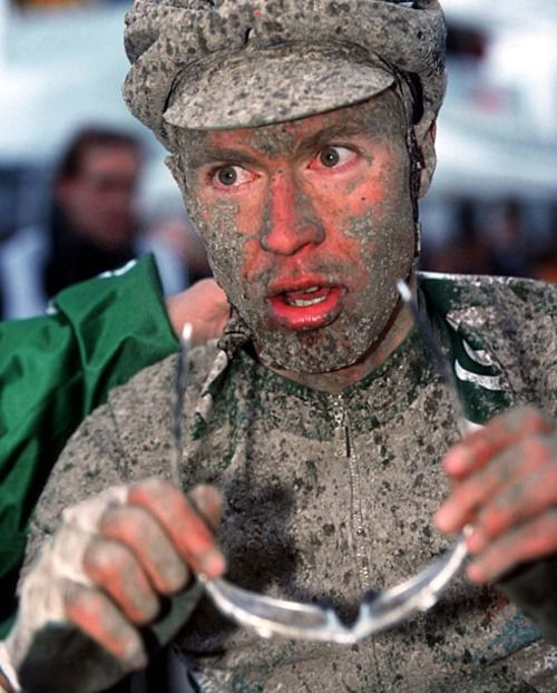 Pro cyclist Jens Voigt after a hard day at the office
