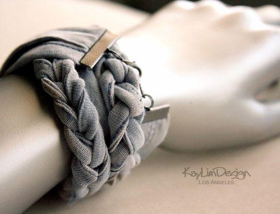 One of a kind cotton jersey women's bracelet KA157