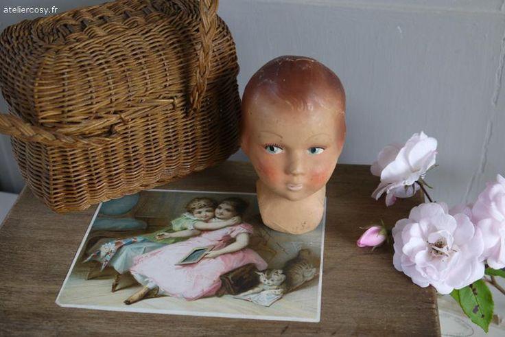 Ancienne tête de poupée , brocante de charme ateliercosy.fr