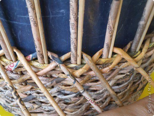 Мастер-класс Поделка изделие Плетение Корзины для овощей - Бумага газетная Трубочки бумажные фото 20