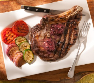Thrifty Foods - Recipe - Grilled Beef Rib Steaks with Red Wine Peppercorn Butter