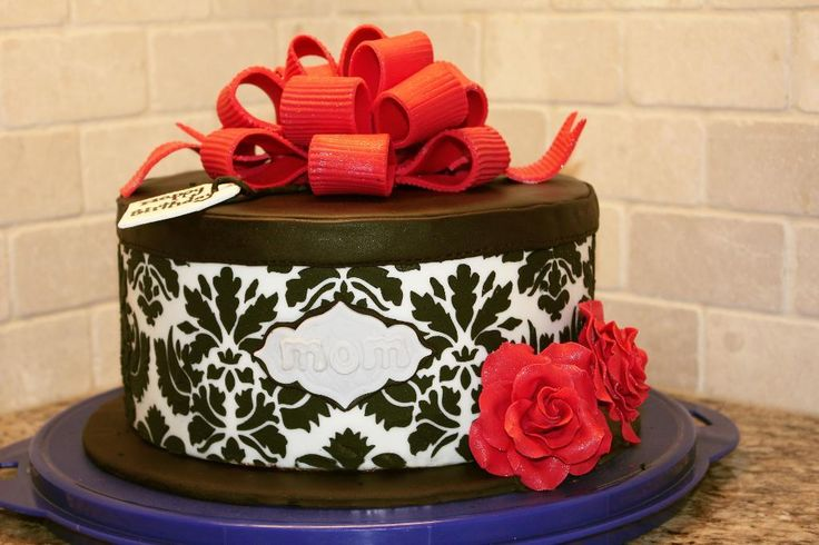Damask hat box cake - via @Craftsy