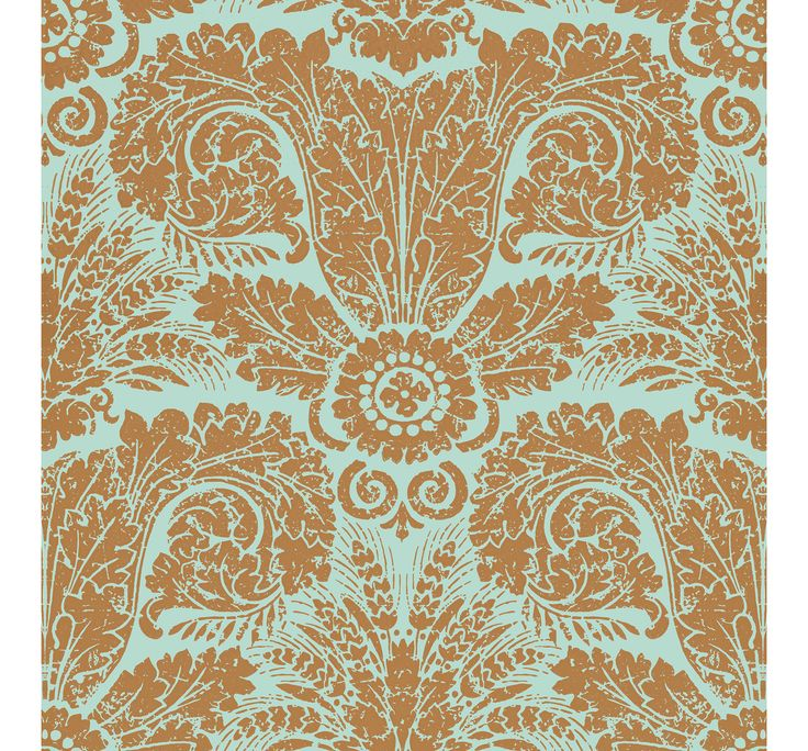 WH154 06 Wheat Damask Bronze Turquoise by Waterhouse Wallhangings