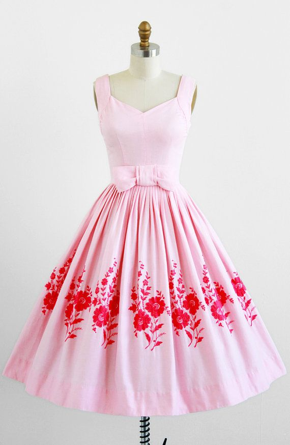 vintage 1950s pink cotton pique party dress with floral embroidery